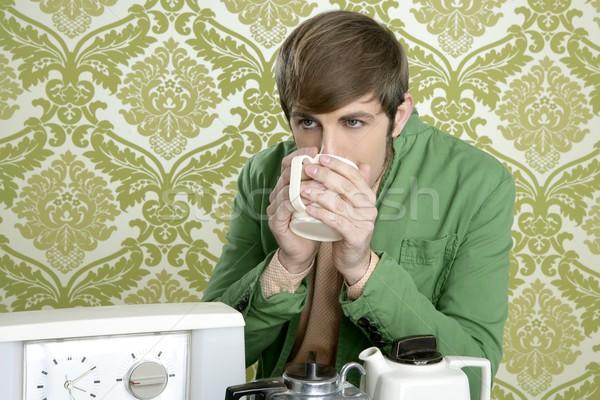 Stock photo: geek retro man drinking tea coffee vintage teapot