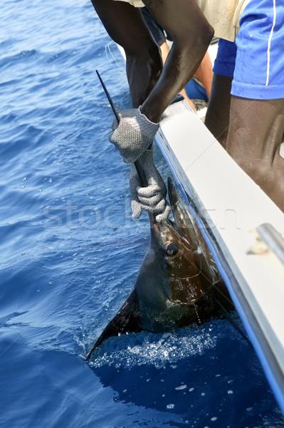 African man holding sailfish on sport fishing boat Stock photo © lunamarina