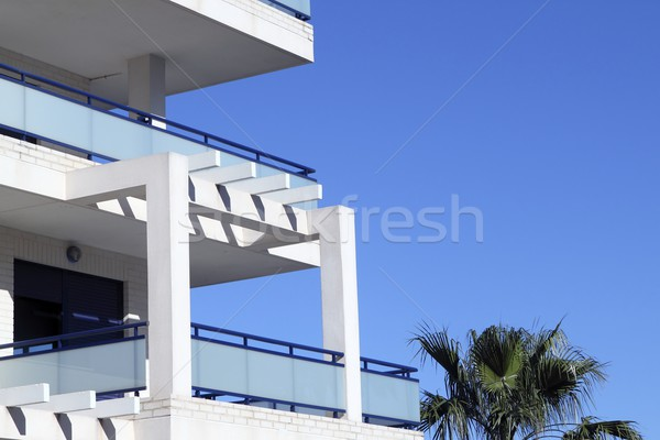 Mediterranean architecture detail white and blue Stock photo © lunamarina