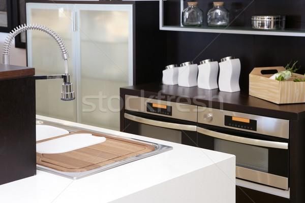 Brown wood kitchen modern stainless steel Stock photo © lunamarina