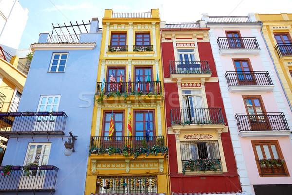 Valencia belváros központi piac Spanyolország művészet Stock fotó © lunamarina