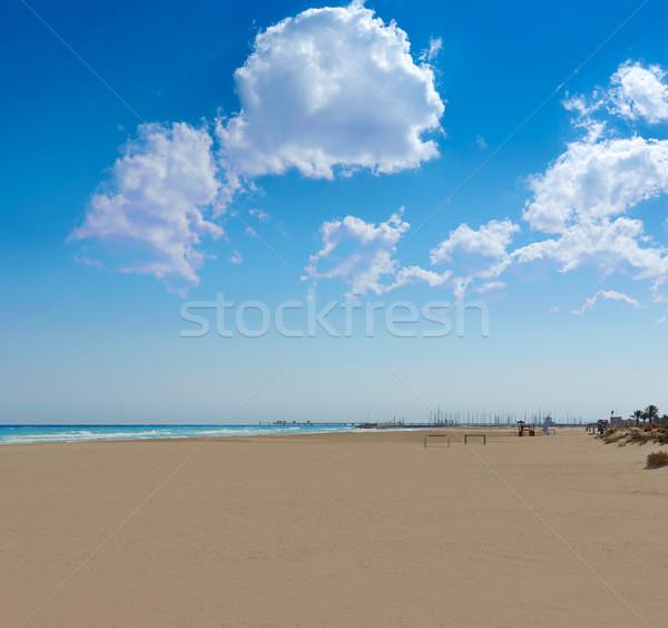 Tengerparti homok Valencia Spanyolország tengerpart víz kék Stock fotó © lunamarina