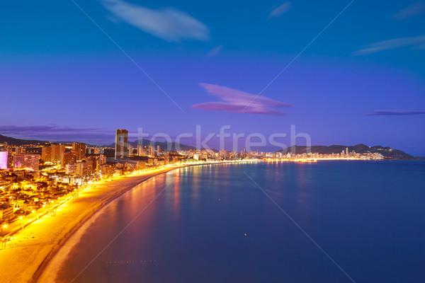 Stok fotoğraf: Plaj · gün · batımı · İspanya · akdeniz · gökyüzü · su