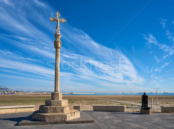 Pinedo cross monument in Valencia beach Stock photo © lunamarina