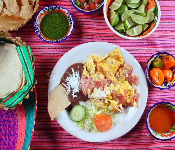 Breakfast in Mexico eggs and ham chili sauce Stock photo © lunamarina