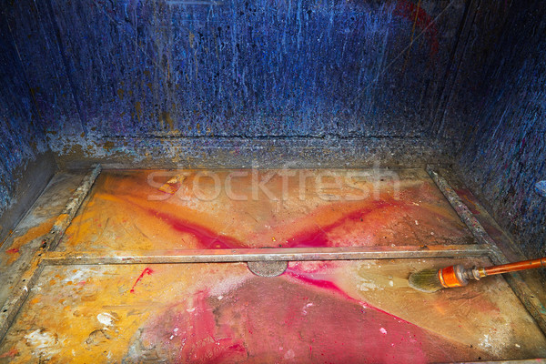 Cleaning thinner brush in a print factory colorful Stock photo © lunamarina