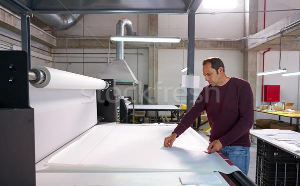Umbuchung Maschine Produktion Betreiber Mann Textil Stock foto © lunamarina