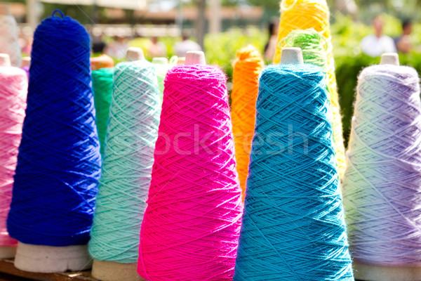 Embroidery colorful thread spools Stock photo © lunamarina