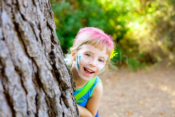 children little girl happy playing in forest tree Stock photo © lunamarina