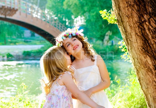 kid girls playing in spring outdoor river park Stock photo © lunamarina