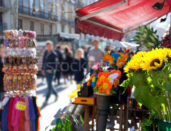 Barcelona Ramblas street life in autumn Stock photo © lunamarina