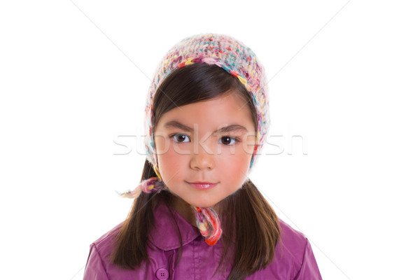 Asian child kid girl winter portrait purple coat and wool cap Stock photo © lunamarina