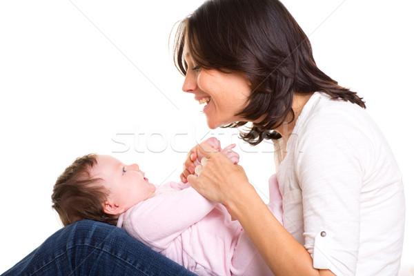 Mutter Jeans spielen zusammen weiß Stock foto © lunamarina
