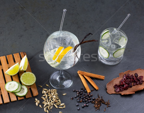 Gin tonic cocktail with lima and many spices Stock photo © lunamarina