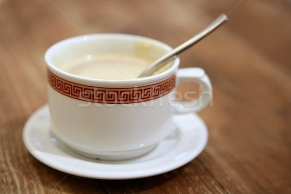 Coffe with milk white cup over teak wooden Stock photo © lunamarina