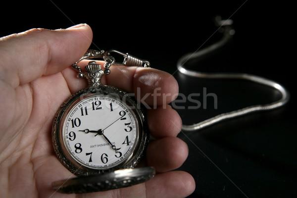 Foto stock: Velho · prata · relógio · de · bolso · relógio · mão · humana · antigo