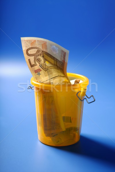 Stock photo: Fifty euro currency note on the trash