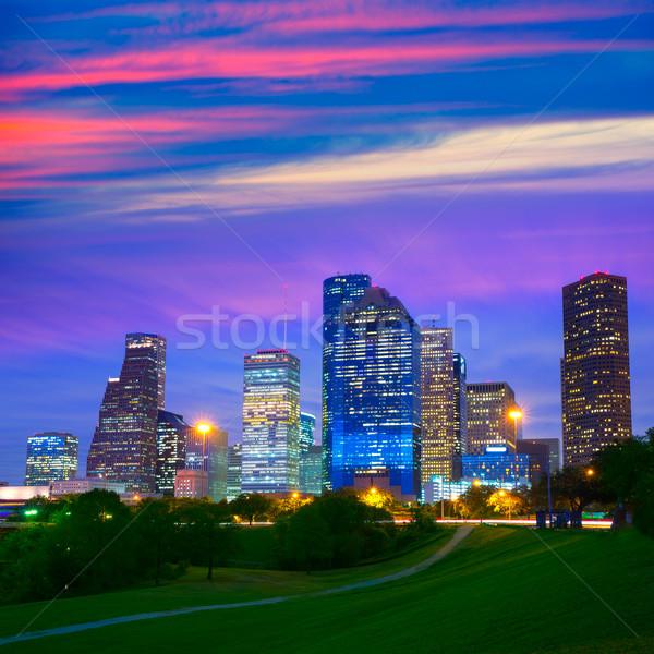 Houston Texas modern skyline at sunset twilight from park Stock photo © lunamarina