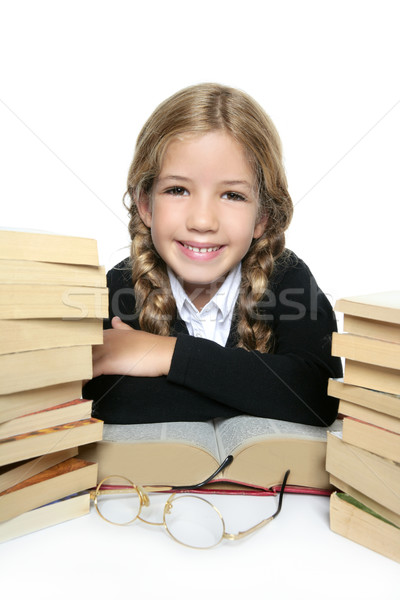Stock photo: little blond happy student girl  smiling