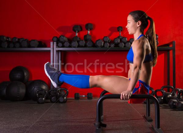 женщину параллельному баров тренировки спортзал осуществлять Сток-фото © lunamarina