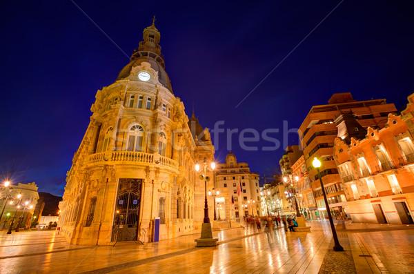 Foto stock: Sala · España · puesta · de · sol · ciudad · edificio · reloj
