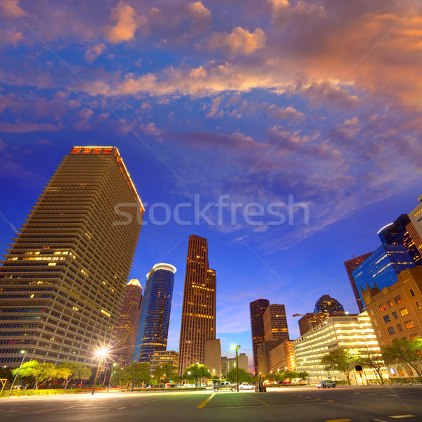 Houston belváros sziluett naplemente Texas dél Stock fotó © lunamarina