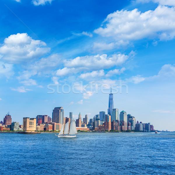 Manhattan ufuk çizgisi New York güneş mavi gökyüzü gökyüzü Stok fotoğraf © lunamarina