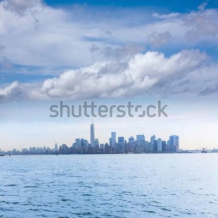 Manhattan sziluett New York hörcsög sziget üzlet Stock fotó © lunamarina