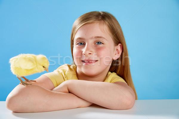 子供 少女 雛 演奏 青 黄色 ストックフォト © lunamarina