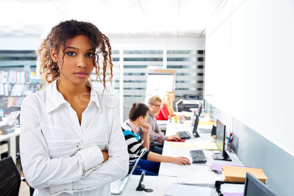 African businesswoman young office with computer Stock photo © lunamarina