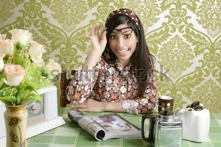 Retro photo camera woman green sixties wallpaper Stock photo © lunamarina