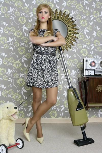 retro vacuum cleaner woman housewife vintage Stock photo © lunamarina