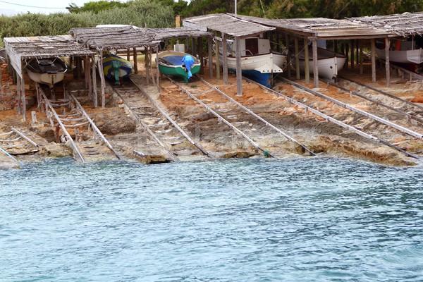 Escalo Formentera boat stranded wooden rails Stock photo © lunamarina