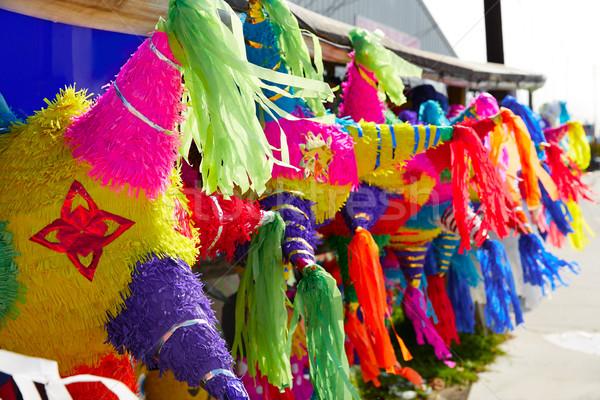 Mexikói buli papírzsebkendő színes papír díszített Stock fotó © lunamarina