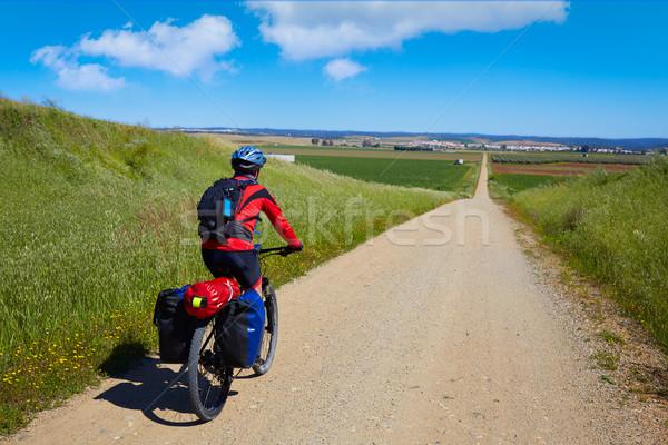 Biker at Via de la Plata way Andalusia Spain Stock photo © lunamarina