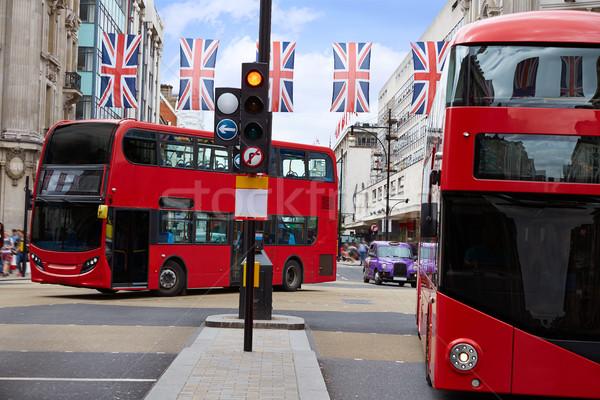 London busz Oxford utca Westminster épület Stock fotó © lunamarina