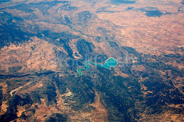 Aerial Embalse Santolea Dam in Aragon Spain Stock photo © lunamarina