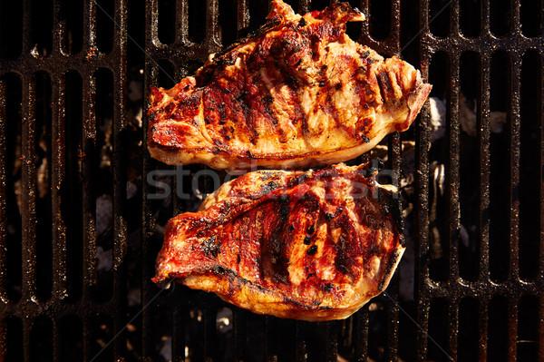バーベキュー 石炭 肉 食品 煙 ディナー ストックフォト © lunamarina