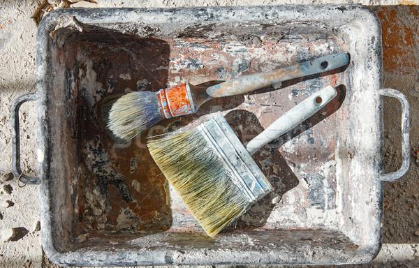 Paint brushes used on debris improvement Stock photo © lunamarina