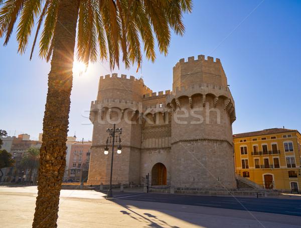 Serrano tornyok Valencia öreg város ajtó Stock fotó © lunamarina