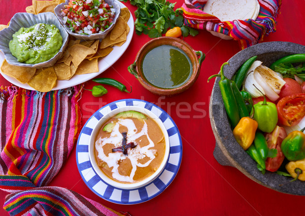 Aztec soup from Mexico recipe Stock photo © lunamarina