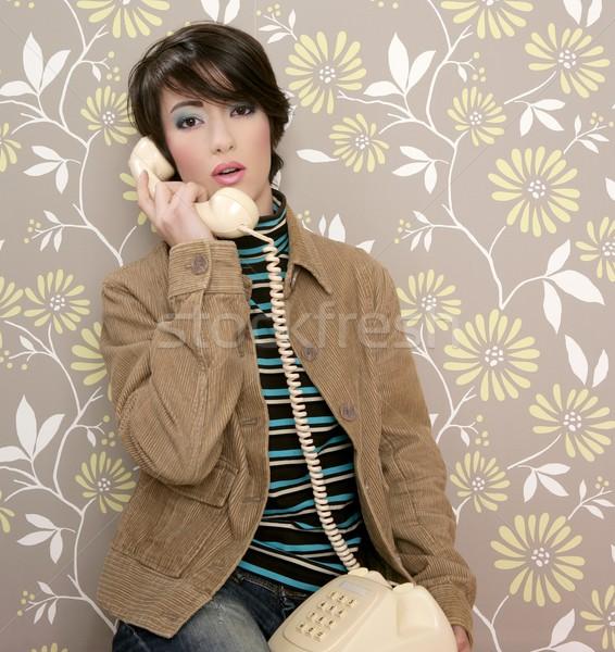 Beszél telefon retro nő régi tapéta fal Stock fotó © lunamarina