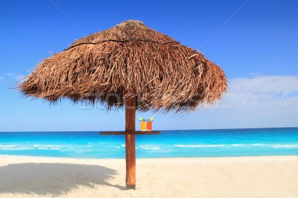 Grzech słońce dachu parasol Karaibów lata Zdjęcia stock © lunamarina
