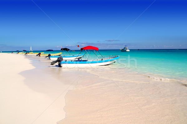 Stockfoto: Boten · tropisch · strand · caribbean · zomer · perfect · water