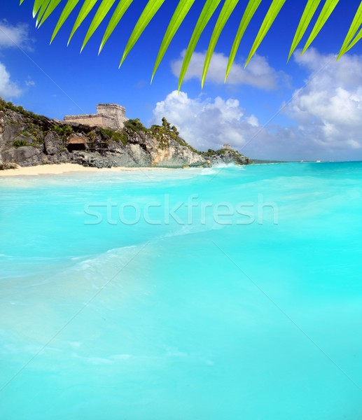 ancient Tulum Mayan ruins view from caribbean sea Stock photo © lunamarina