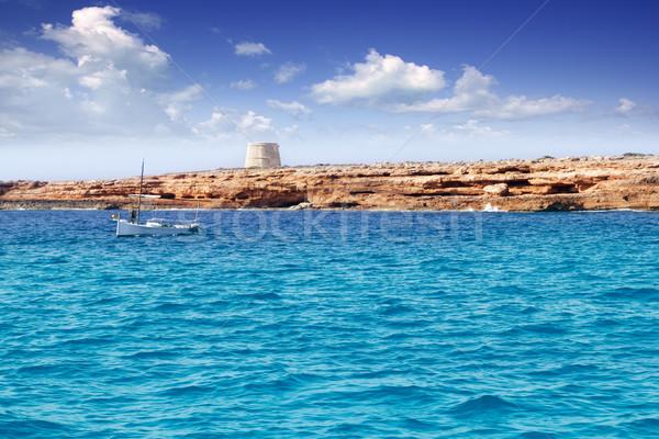 gavina tower in Formentera island traditional boat Stock photo © lunamarina