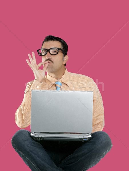 Stock photo: geek man sit laptop computer ok positive gesture