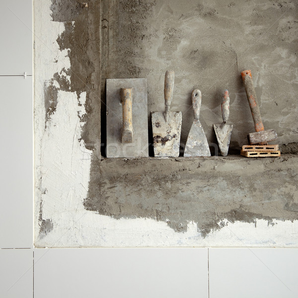 Stock photo: aged construction cement mortar used tools