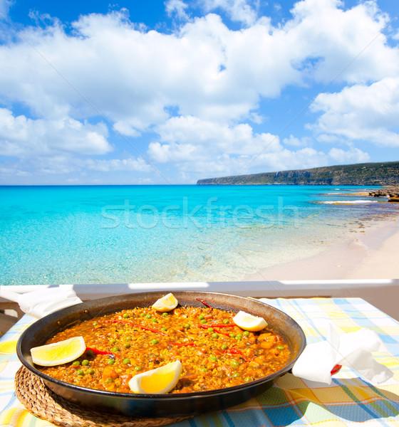 Paella mediterranean rice food in balearic islands Stock photo © lunamarina