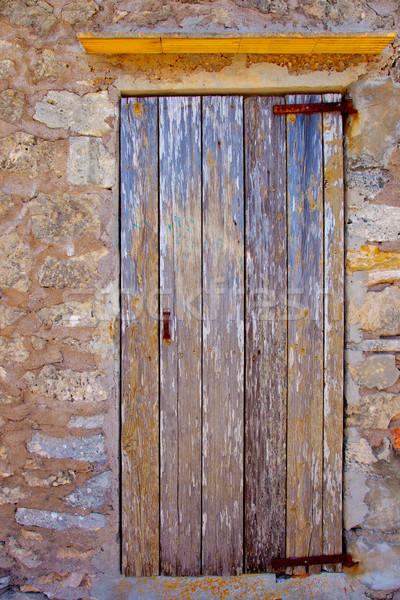 Aged grunge wood stripes door sea weathered Stock photo © lunamarina